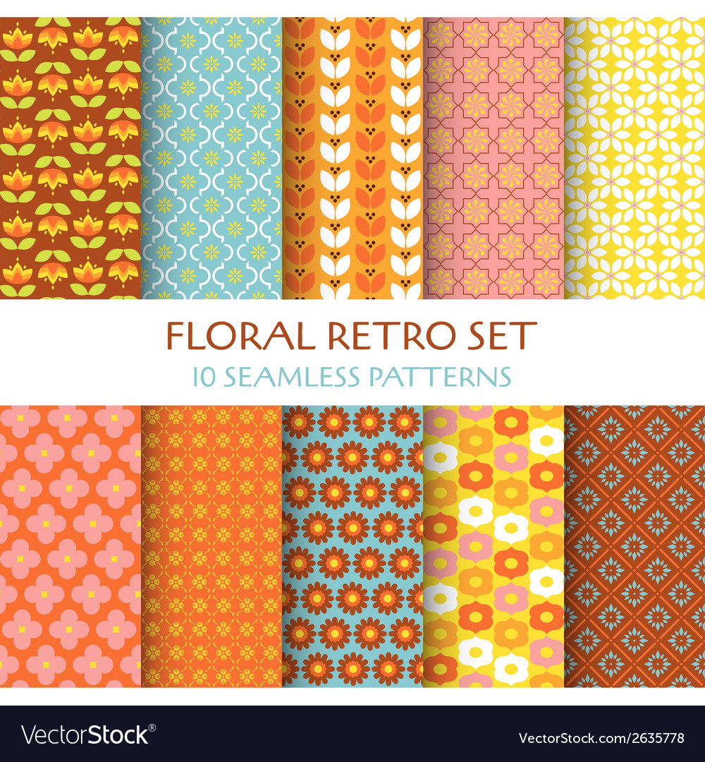 10 seamless patterns - floral retro set vector | Price: 1 Credit (USD $1)