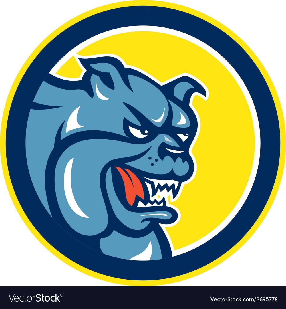 Angry bulldog mongrel head circle cartoon vector | Price: 1 Credit (USD $1)