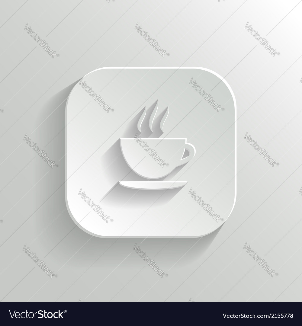 Coffee icon - white app button vector | Price: 1 Credit (USD $1)