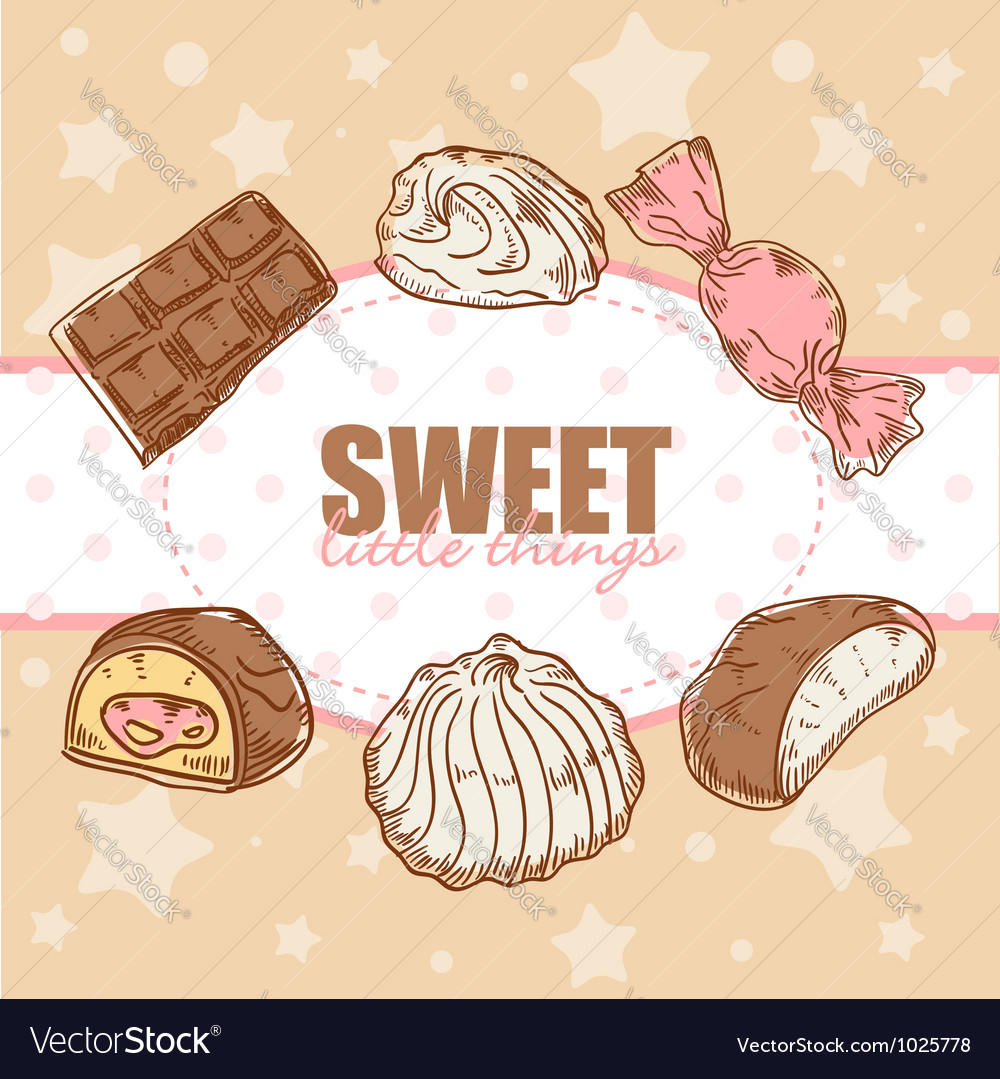 Creative retro card with candies and marshmallow vector | Price: 1 Credit (USD $1)