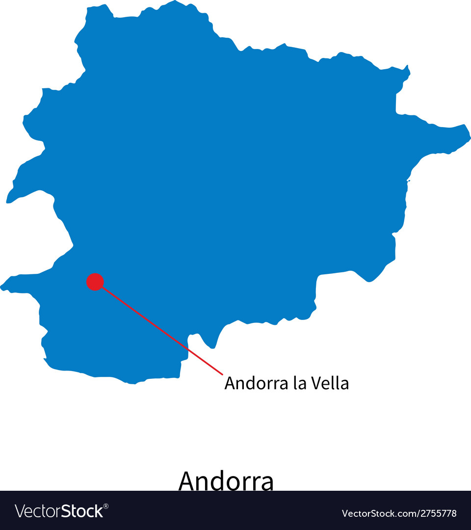 Detailed map of andorra and capital city andorra vector | Price: 1 Credit (USD $1)