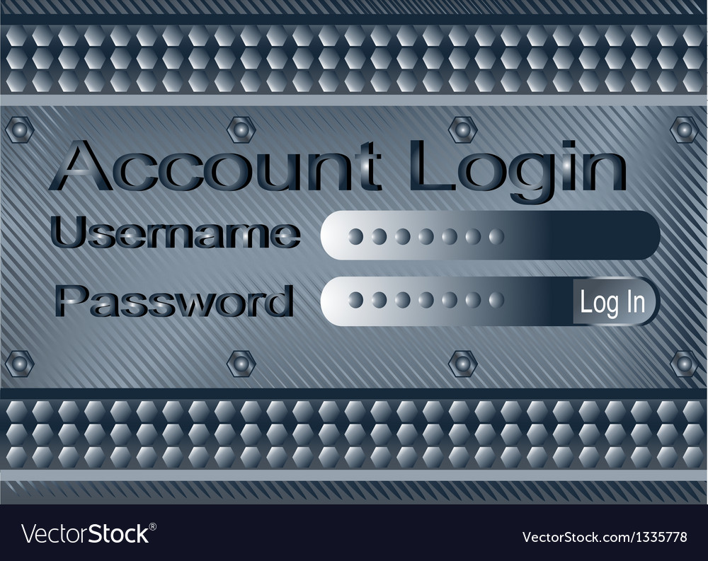 Login form on metal plate vector | Price: 1 Credit (USD $1)