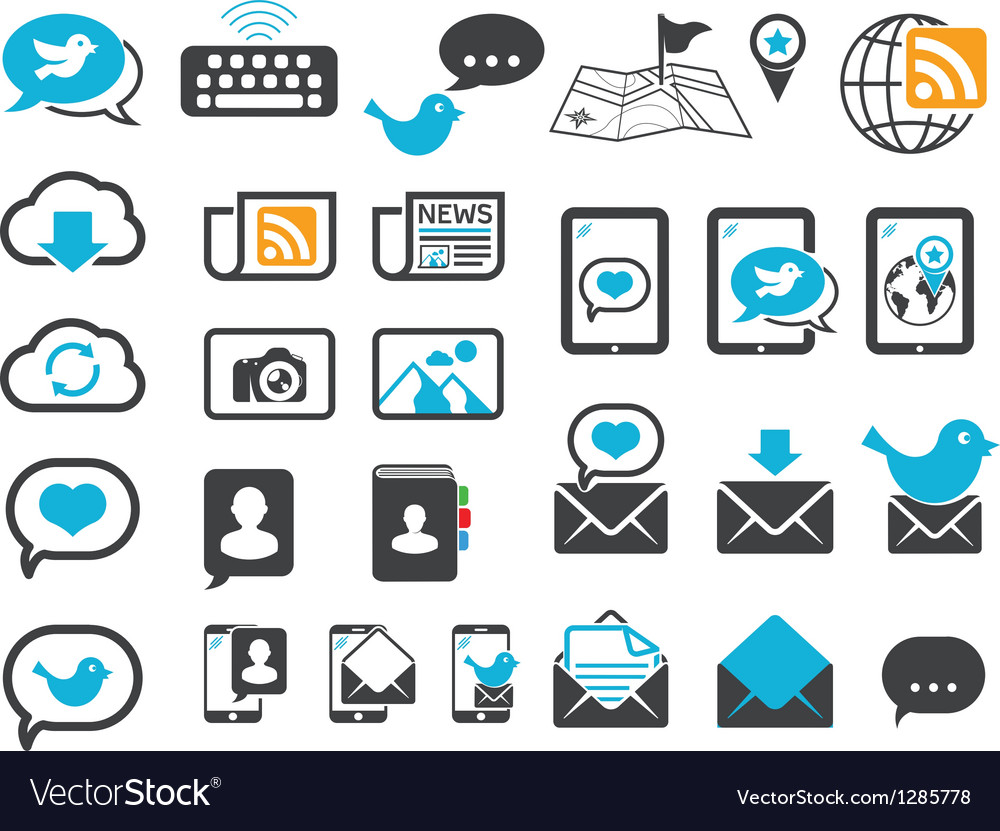 Modern communication icons vector | Price: 1 Credit (USD $1)