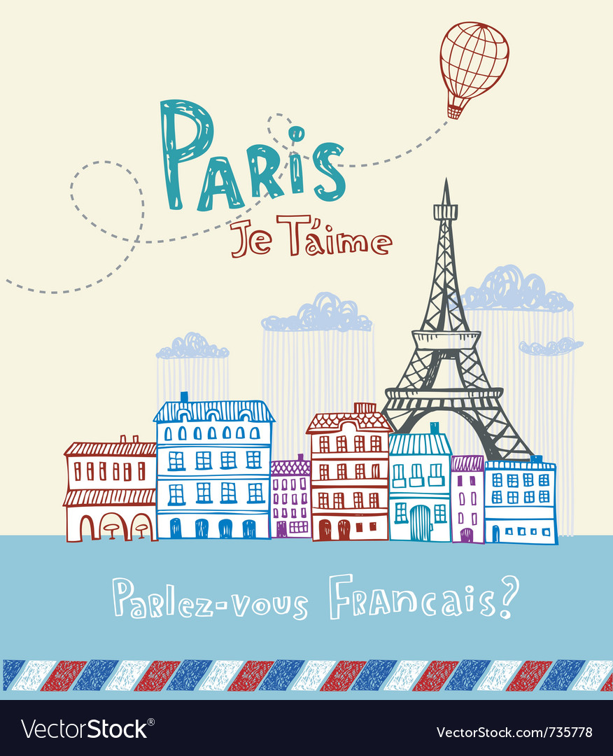 Paris postcard vector | Price: 1 Credit (USD $1)