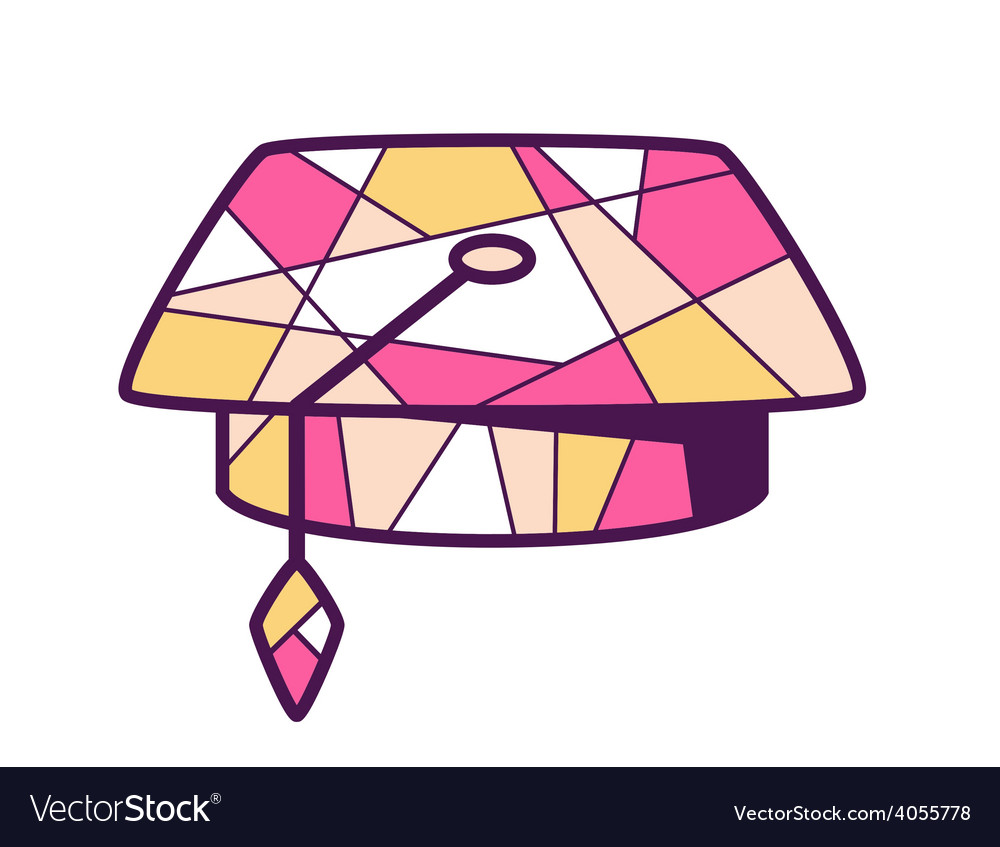 Pink and yellow graduation cap on light b vector | Price: 1 Credit (USD $1)