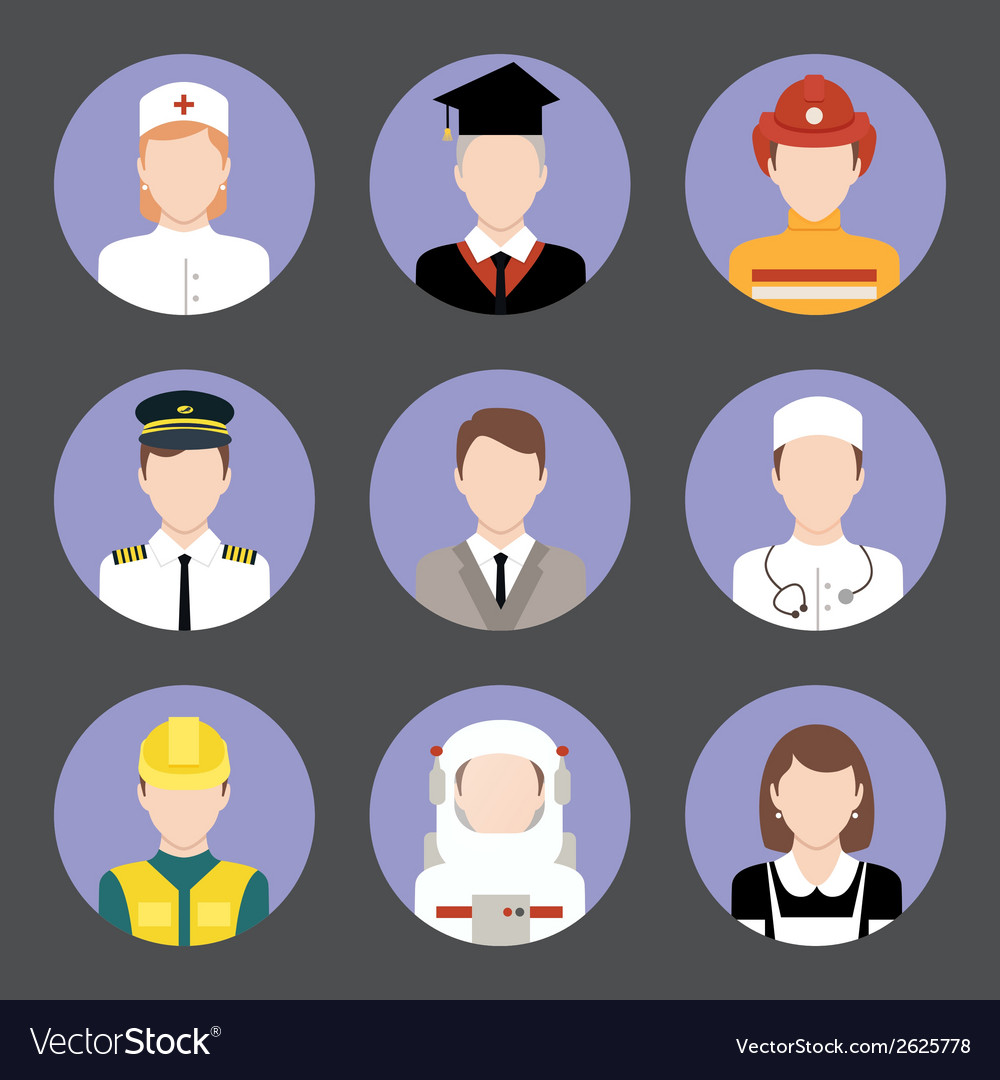 Professions avatar flat icons set vector | Price: 1 Credit (USD $1)