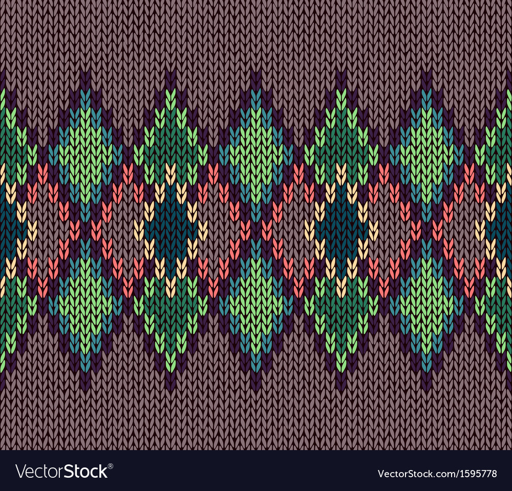 Seamless color knitted ornament pattern vector | Price: 1 Credit (USD $1)