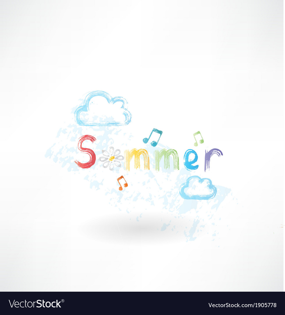 Summer music grunge icon vector | Price: 1 Credit (USD $1)