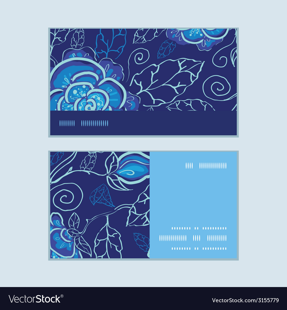 Blue night flowers horizontal stripe frame pattern vector | Price: 1 Credit (USD $1)