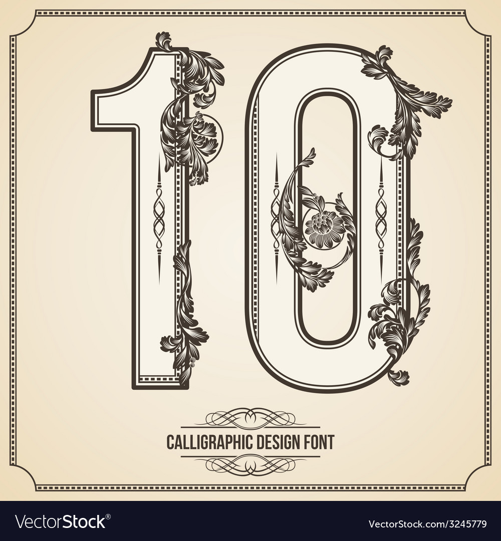 Calligraphic font number 10 vector | Price: 1 Credit (USD $1)