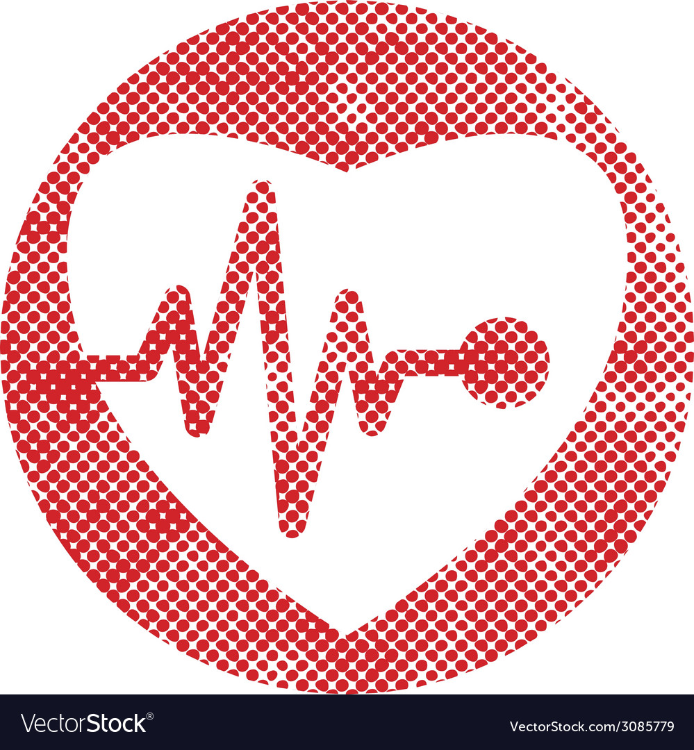 Cardiology icon with heart and cardiogram icon vector | Price: 1 Credit (USD $1)