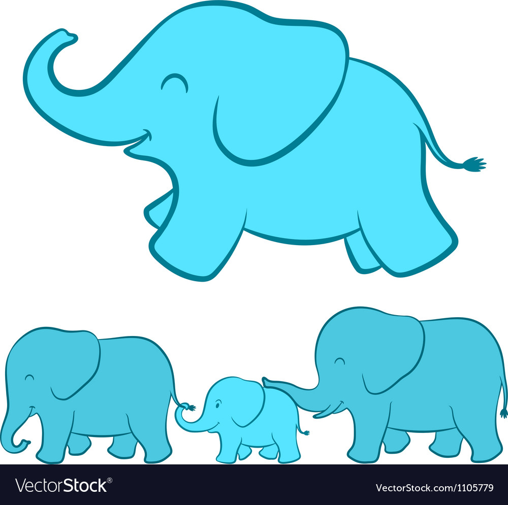 Elephant family cartoon vector | Price: 1 Credit (USD $1)