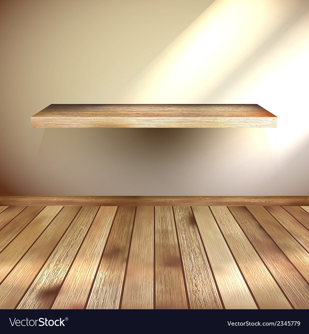 Empty interior with wood shelf eps 10 vector | Price: 1 Credit (USD $1)
