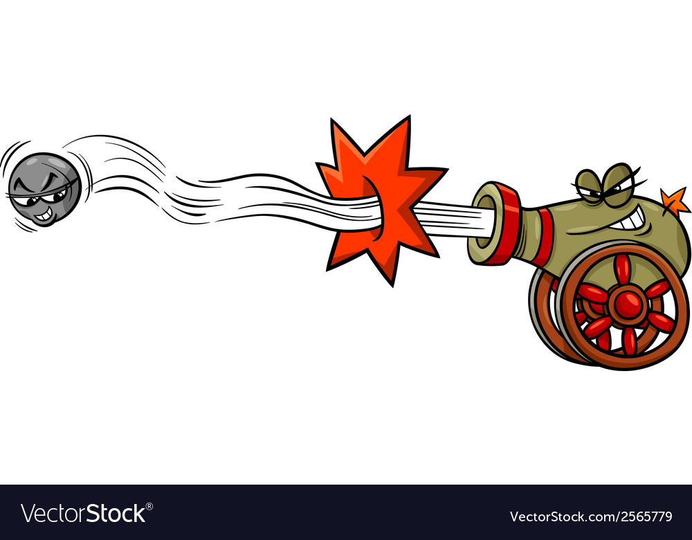 Firing cannon and cannonball cartoon vector | Price: 1 Credit (USD $1)