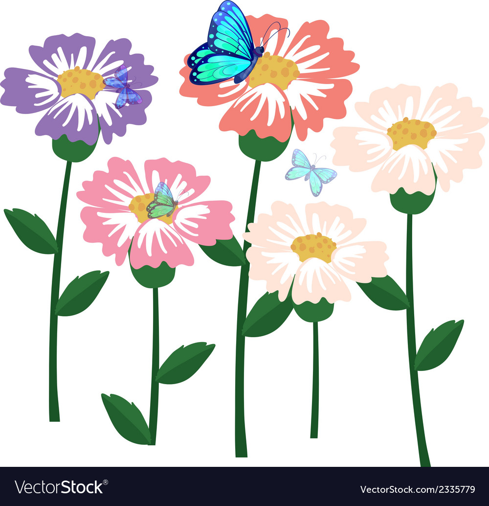Flowers with butterflies vector | Price: 1 Credit (USD $1)