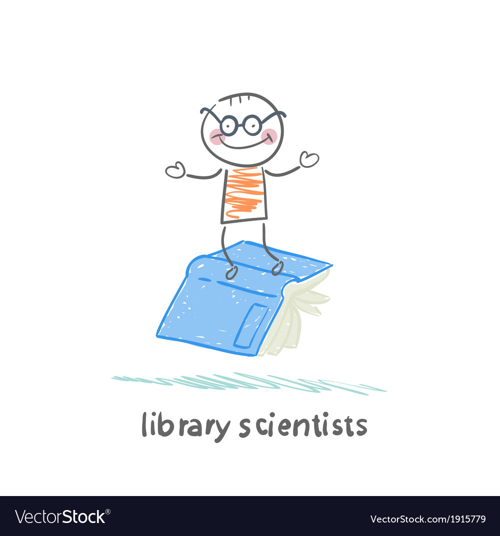 Library scientists flying on book vector | Price: 1 Credit (USD $1)