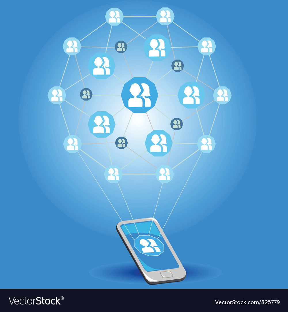 Mobile social networks vector | Price: 1 Credit (USD $1)