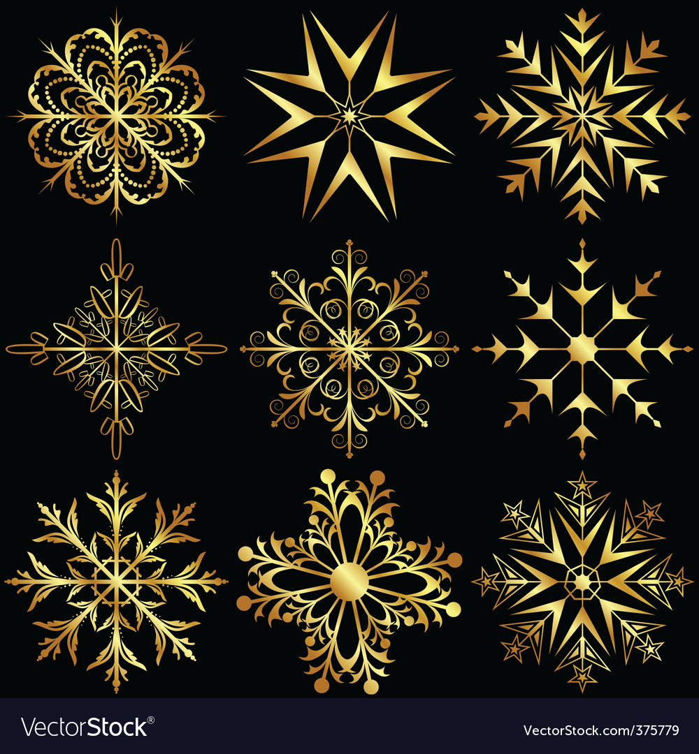 Set large gold snowflakes vector | Price: 1 Credit (USD $1)