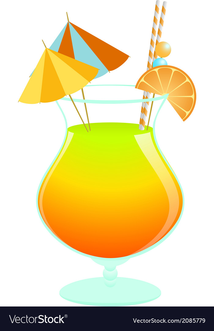 Summer tropical cocktail vector | Price: 1 Credit (USD $1)