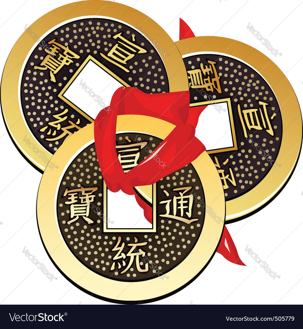 Three ancient chinese coins feng shui tied vector | Price: 1 Credit (USD $1)