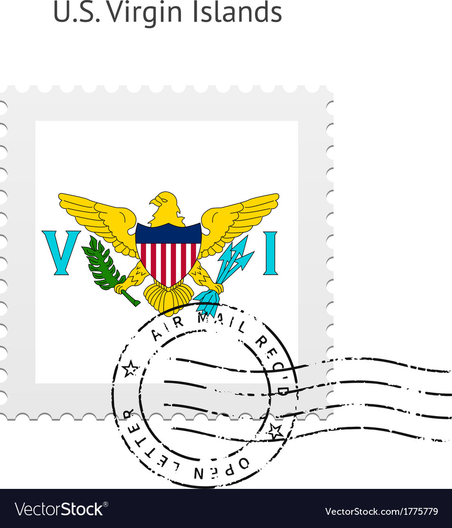 Us virgin islands flag postage stamp vector | Price: 1 Credit (USD $1)