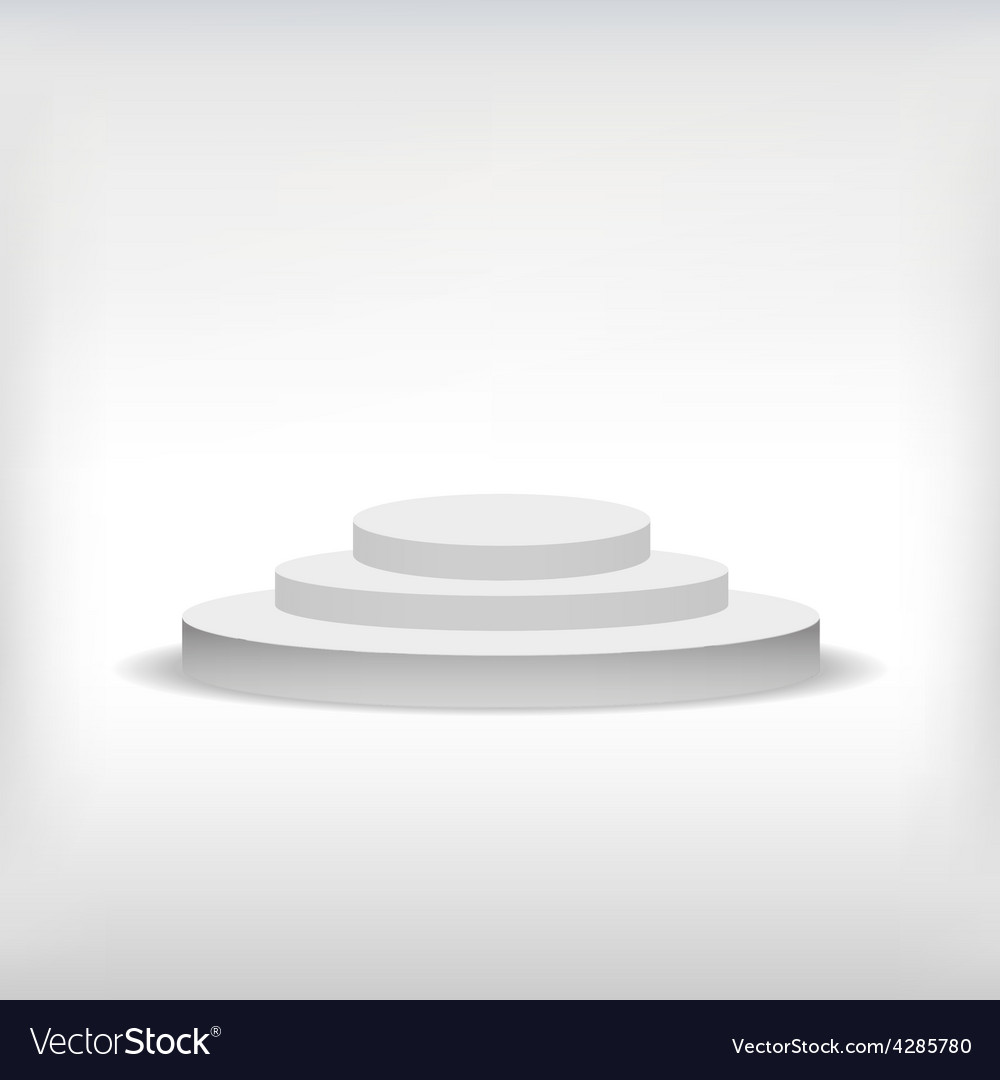 3d isolated empty white podium on gray background vector | Price: 1 Credit (USD $1)