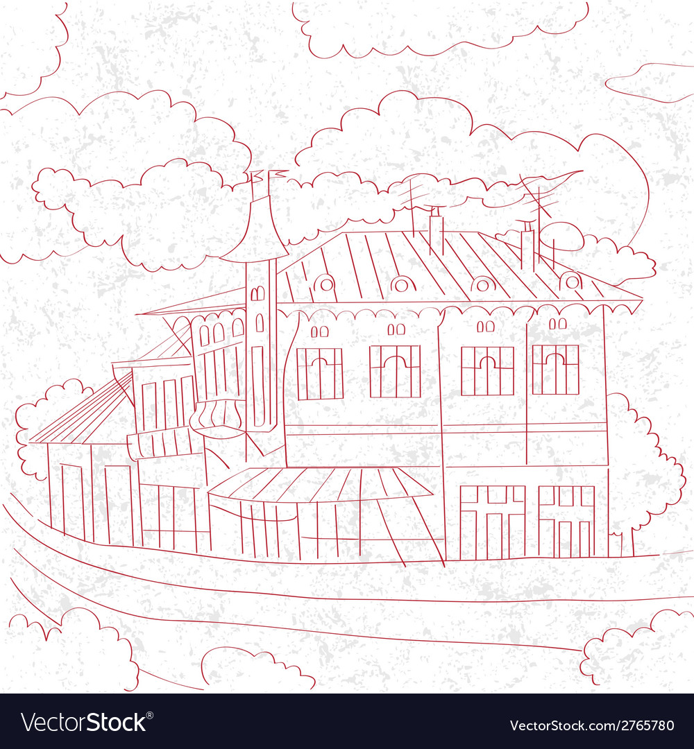 Balcanic building sketch vector | Price: 1 Credit (USD $1)