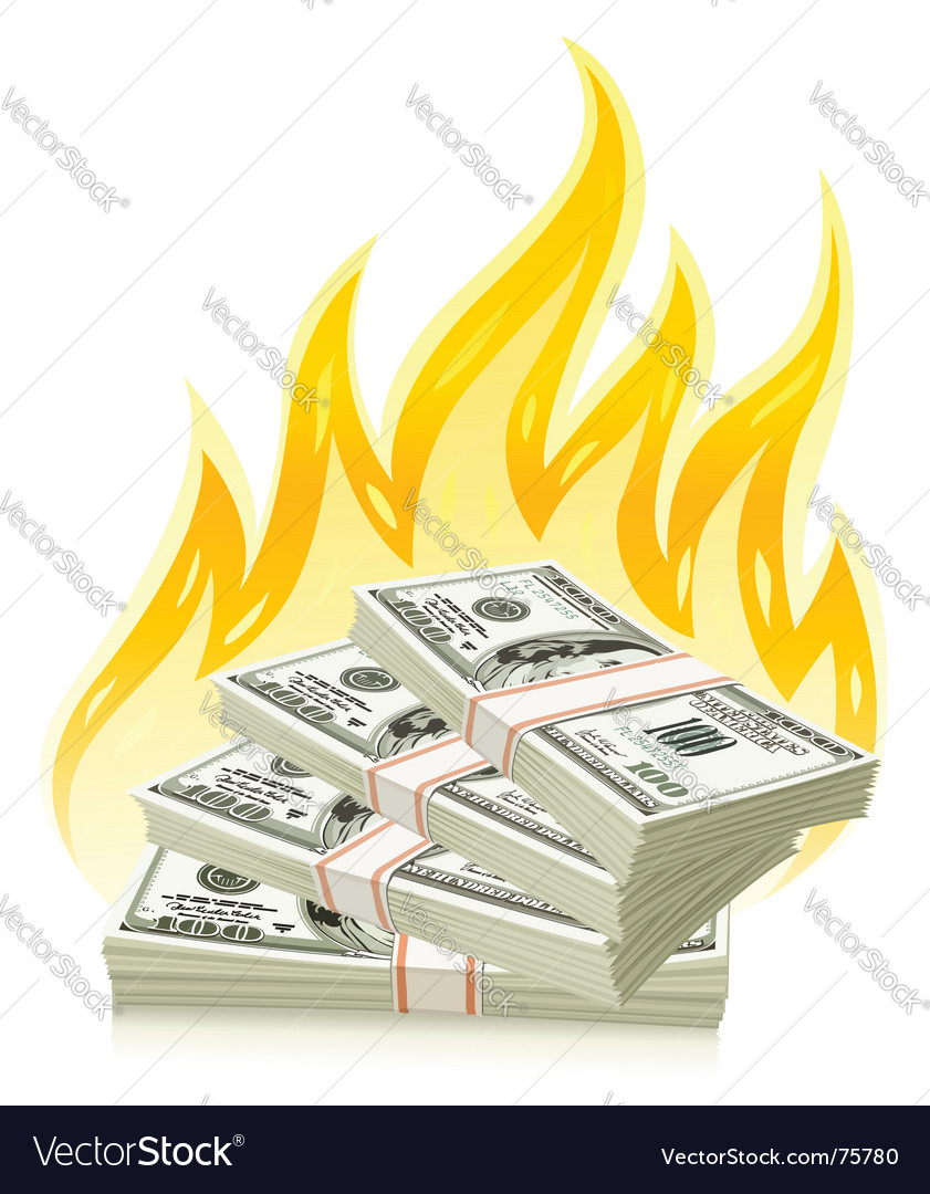 Burning money vector | Price: 3 Credit (USD $3)