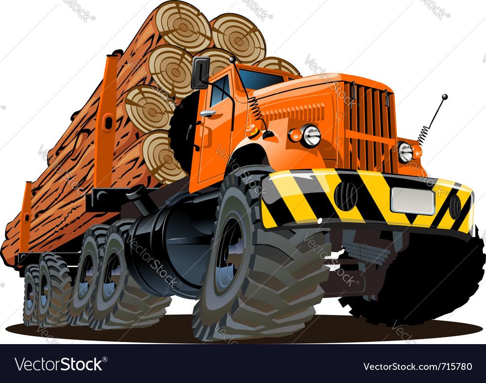 Cartoon logging truck vector | Price: 3 Credit (USD $3)