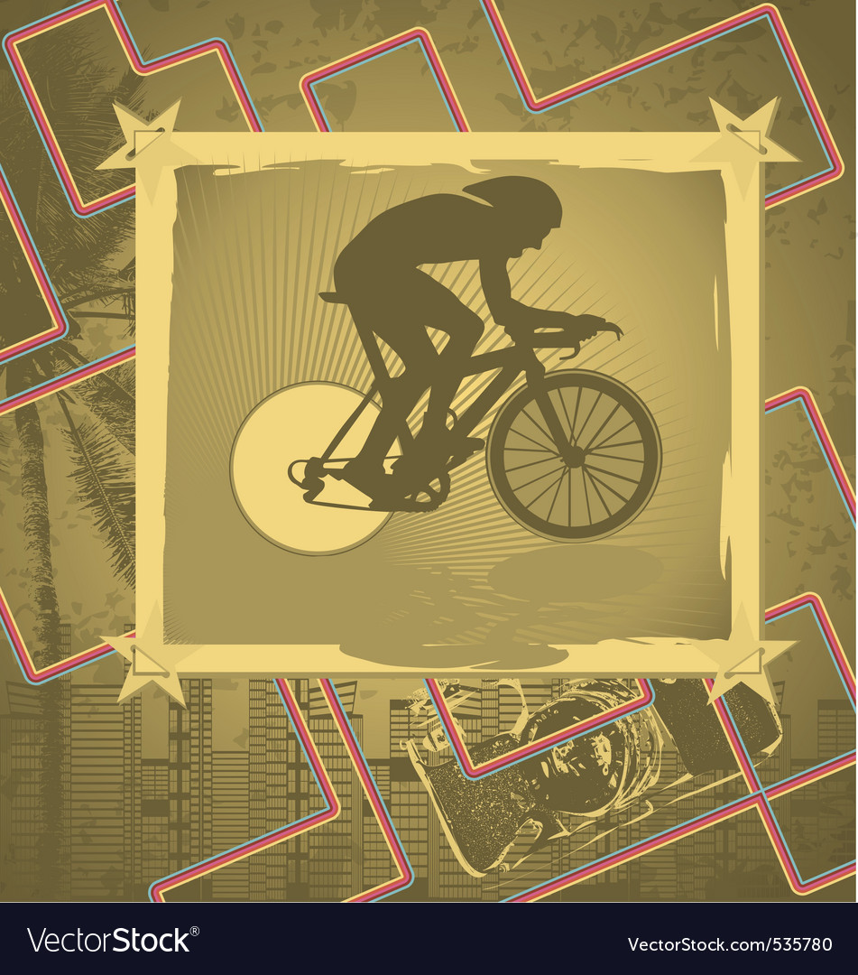 Cyclist vintage frame vector | Price: 1 Credit (USD $1)