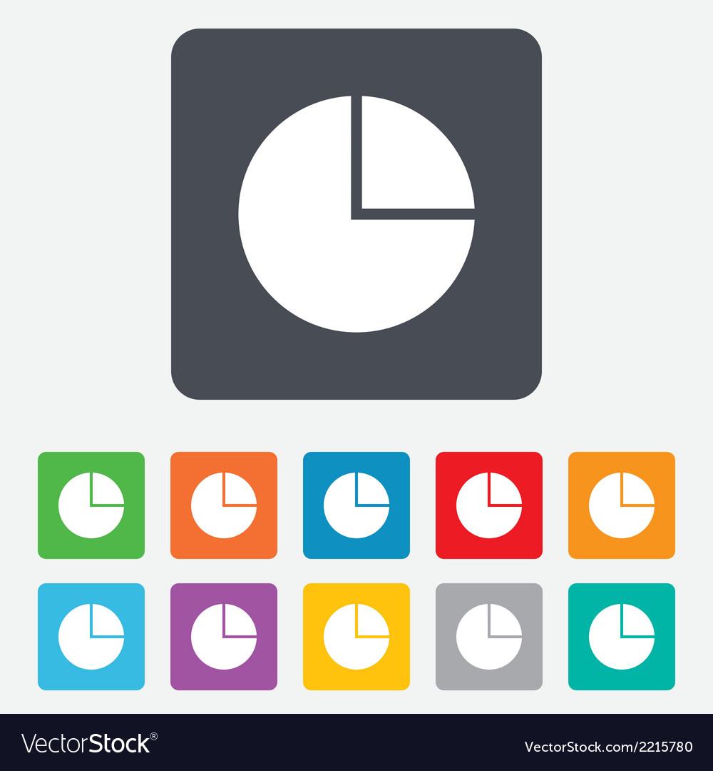 Pie chart graph sign icon diagram button vector | Price: 1 Credit (USD $1)