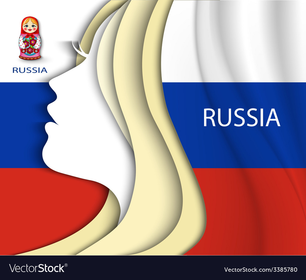 Russian woman russian flag vector | Price: 1 Credit (USD $1)