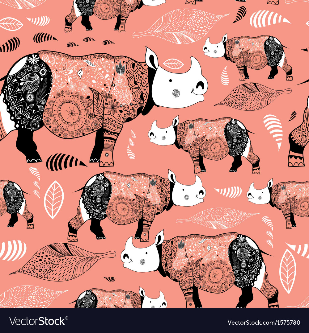 Stok vektor patterned rhinos vector | Price: 1 Credit (USD $1)