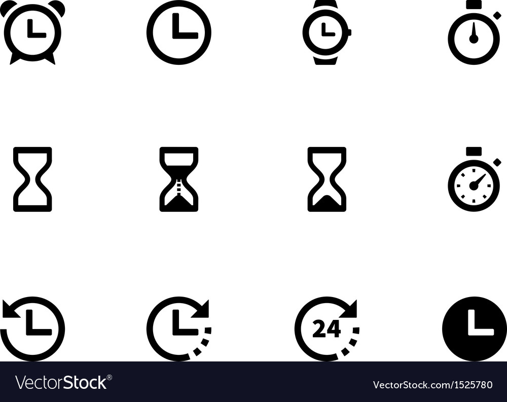 Time and clock icons on white background vector | Price: 1 Credit (USD $1)