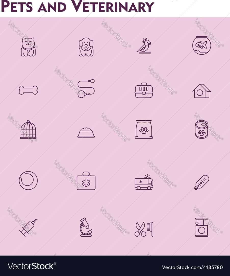 Veterinary and pets icon set vector | Price: 1 Credit (USD $1)