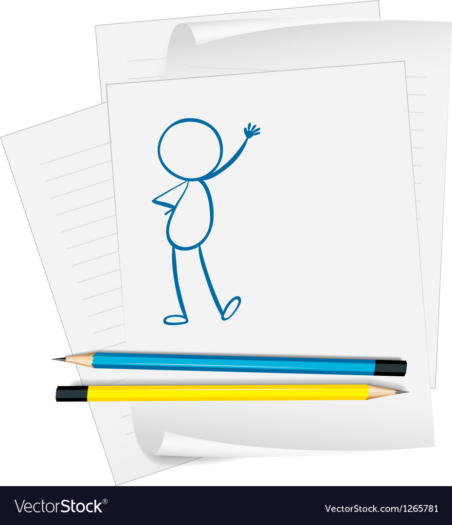 A paper with a sketch of a person standing vector | Price: 1 Credit (USD $1)