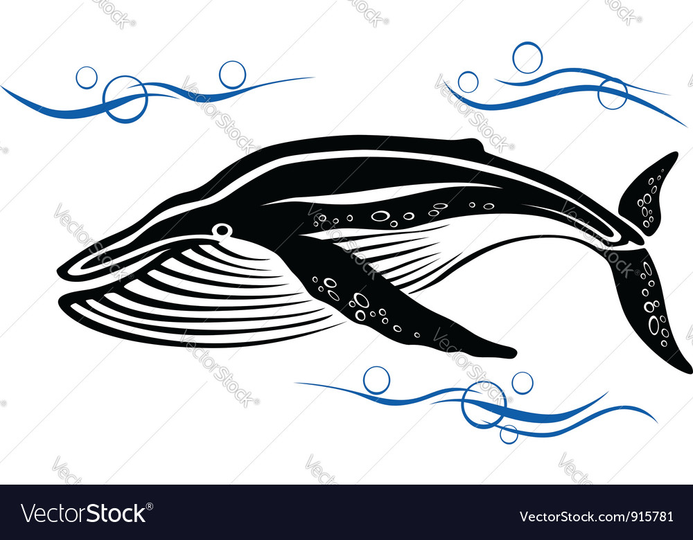 Big black whale in ocean water vector | Price: 1 Credit (USD $1)