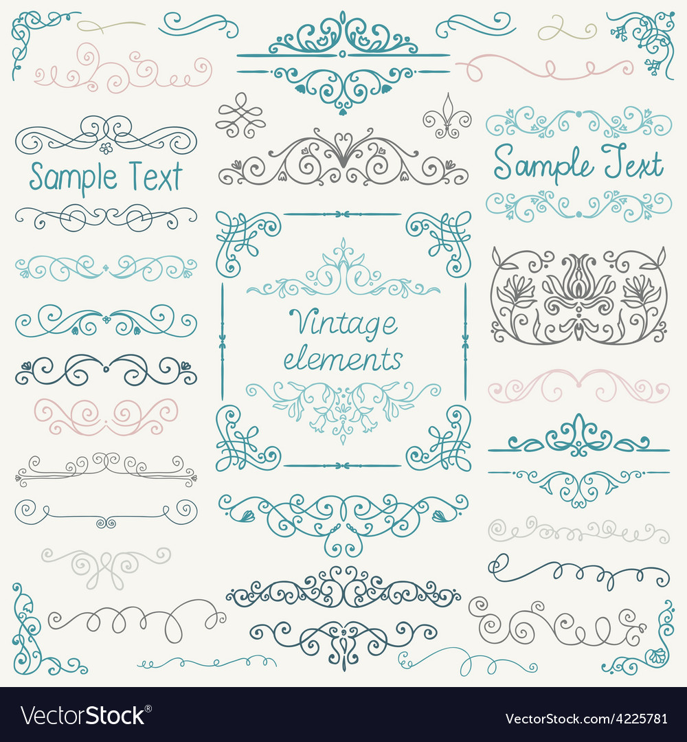 Colorful hand drawn doodle design elements vector | Price: 1 Credit (USD $1)