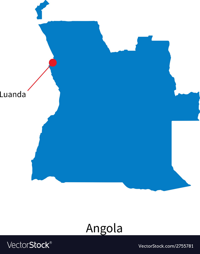 Detailed map of angola and capital city luanda vector | Price: 1 Credit (USD $1)