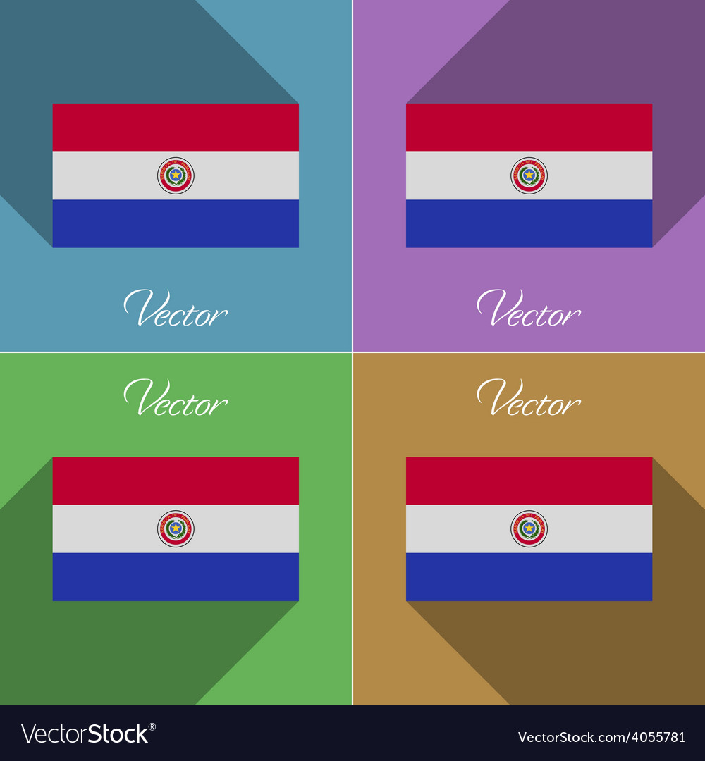 Flags paraguay set of colors flat design and long vector | Price: 1 Credit (USD $1)