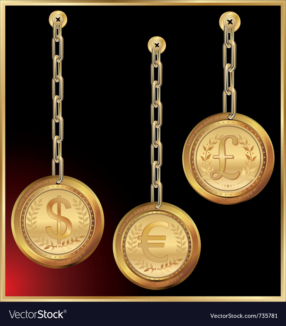 Golden coin linked with chain on black background vector | Price: 1 Credit (USD $1)