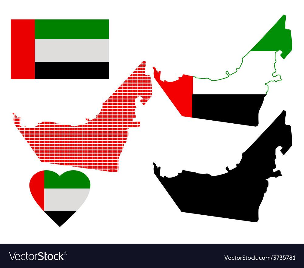 Map of united arab emirates vector | Price: 1 Credit (USD $1)
