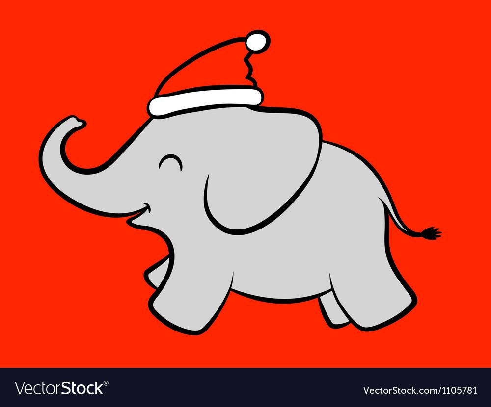 Merry baby santa elephant vector | Price: 1 Credit (USD $1)