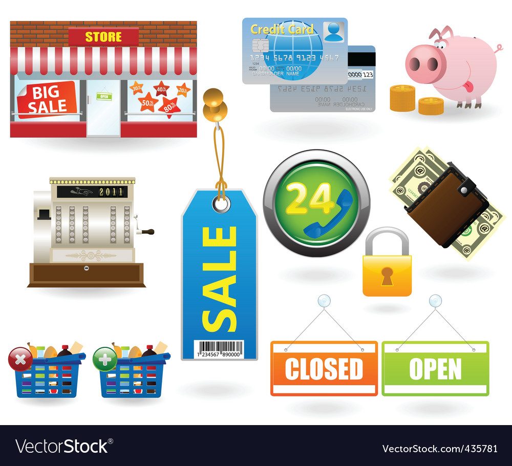 Shopping icon set2 vector | Price: 1 Credit (USD $1)