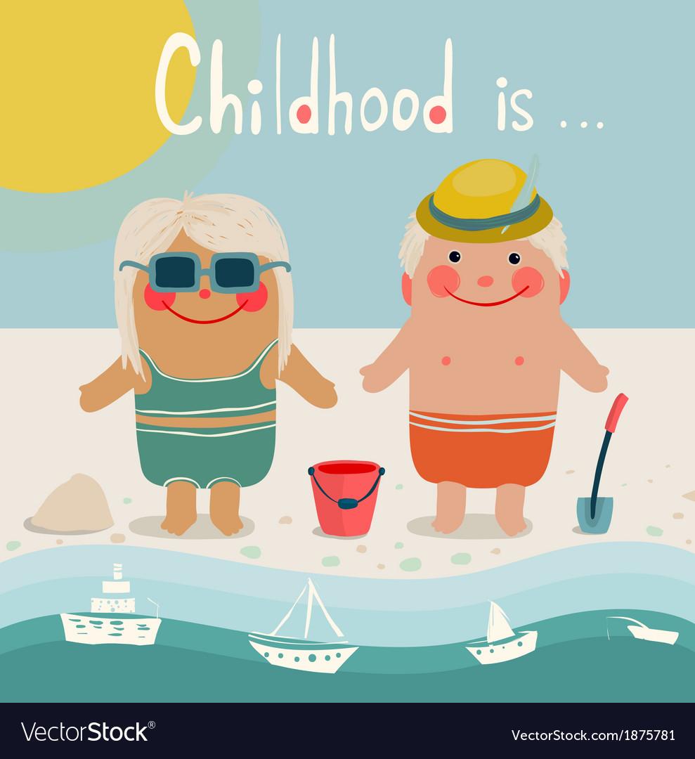 Summer beach children friends sunbathing vector   Price: 1 Credit (USD $1)