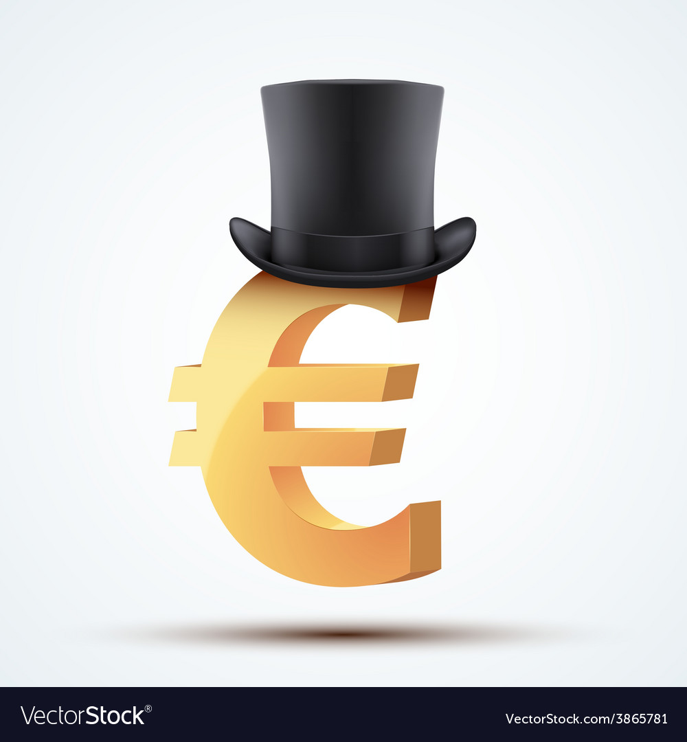 Symbol of the european euro in cylinder hat vector | Price: 3 Credit (USD $3)