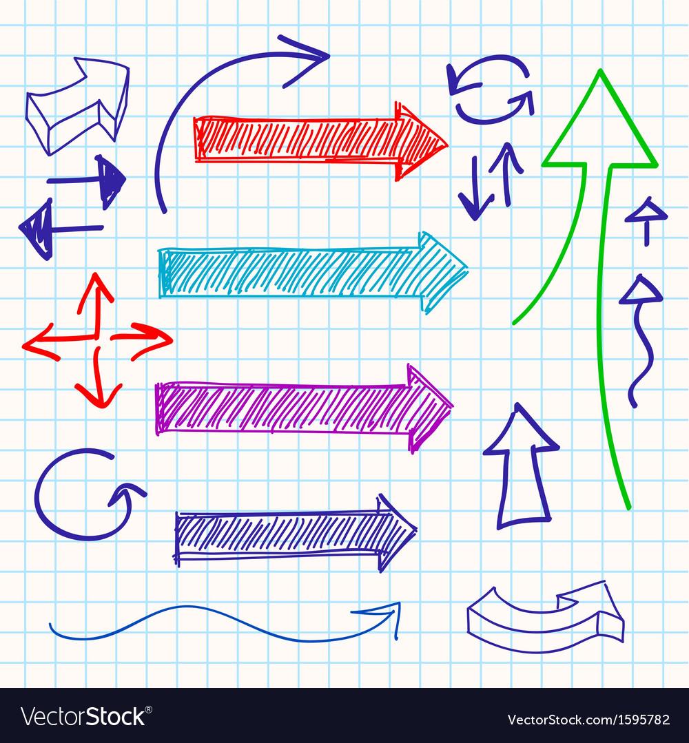 Arrow color sketchy design elements set vector   Price: 1 Credit (USD $1)
