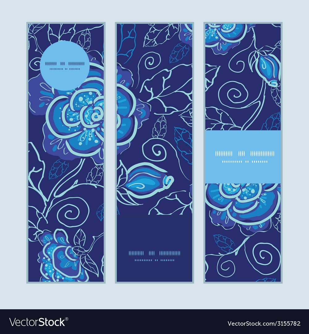 Blue night flowers vertical banners set pattern vector | Price: 1 Credit (USD $1)