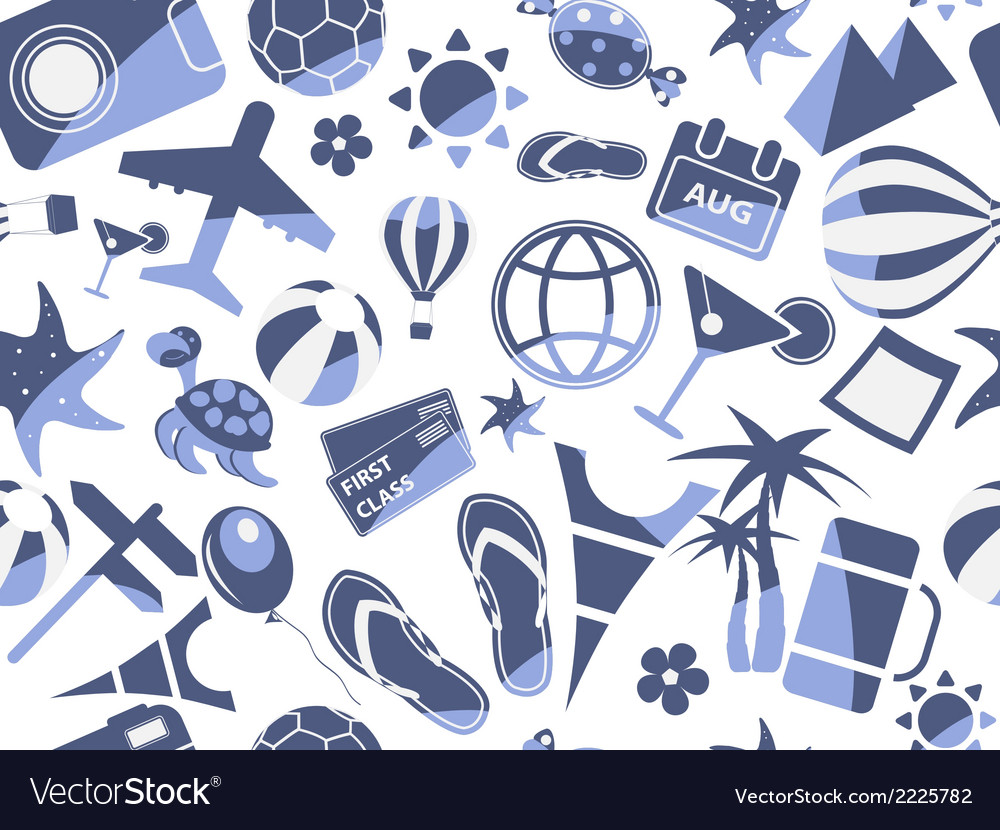 Blue travel seamless pattern vector | Price: 1 Credit (USD $1)