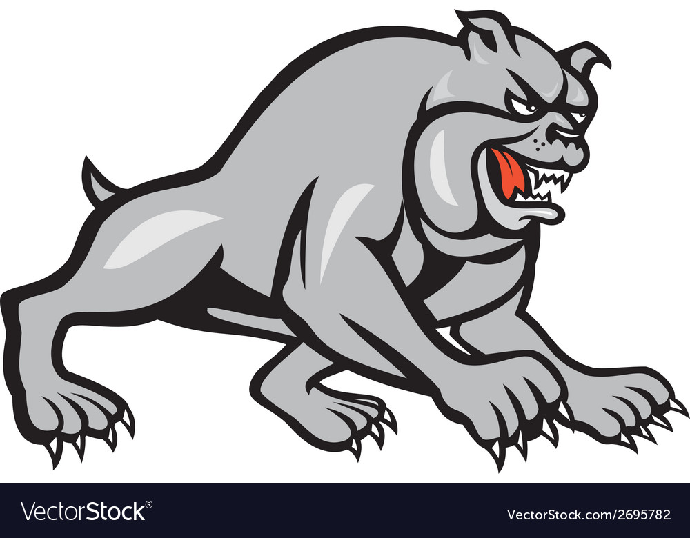 Bulldog dog mongrel prowling cartoon vector